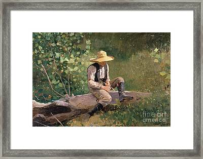The Whittling Boy Framed Print