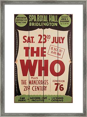 The Who 1966 Tour Poster Framed Print