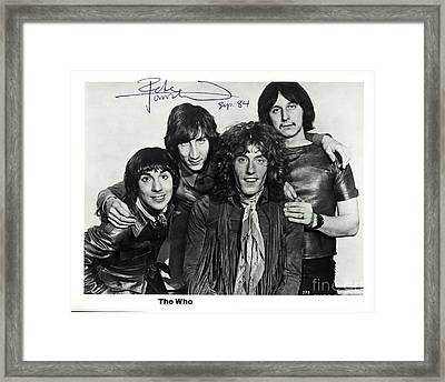 The Who Autographed Photo Framed Print by John Malone