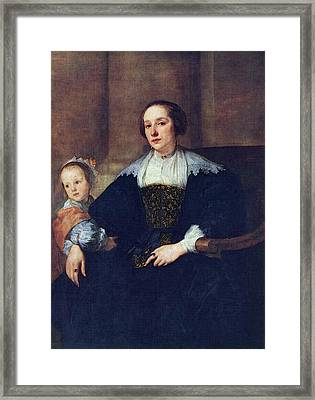 The Wife And Daughter Of Colyn De Nole  Framed Print by Sir Antony van Dyck