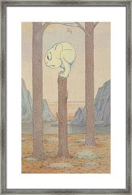 The Wiggle Much Creature On A Tree Stump Looking At A Bug Framed Print by Herbert Crowley