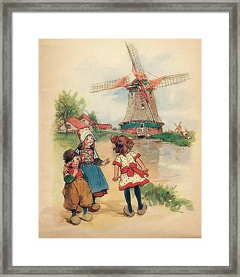 The Windmill And The Little Wooden Shoes Framed Print