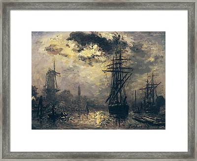 The Windmills In Rotterdam Framed Print by Johan Barthold Jongkind