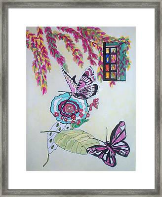 Framed Print featuring the painting The Window To The Butterfly World by Connie Valasco