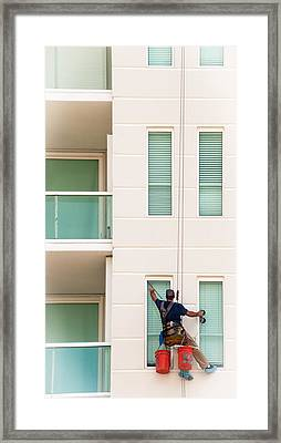 The Window Washer Framed Print