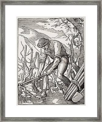 The Wine Grower. 19th Century Framed Print