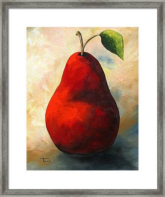 The Wine Red Pear  Framed Print by Torrie Smiley