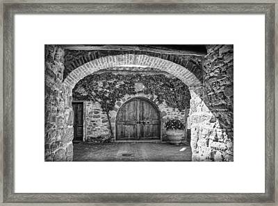The Winery's Entrance B/w Framed Print