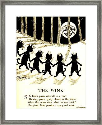 The Wink Six Black Pussy Cats Framed Print