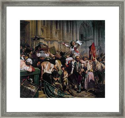 The Winners Of The Bastille In Front Of The Town Hall Framed Print by Paul Delaroche
