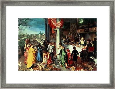 The Winter Feast Framed Print by Hendrik van the Elder Balen