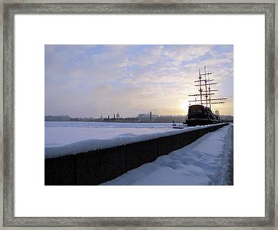 Framed Print featuring the pyrography The Winter Ship by Yury Bashkin