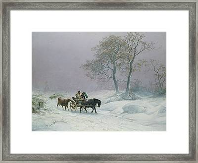 The Wintry Road To Market  Framed Print by Thomas Sidney Cooper