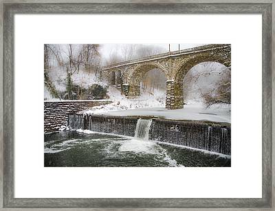 The Wissahickon Creek At Ridge Avenue In The Snow Framed Print by Bill Cannon