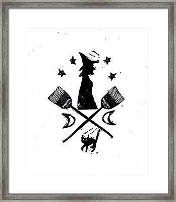 The Witches Crest Halloween Silhouette Framed Print by Coralette Damme