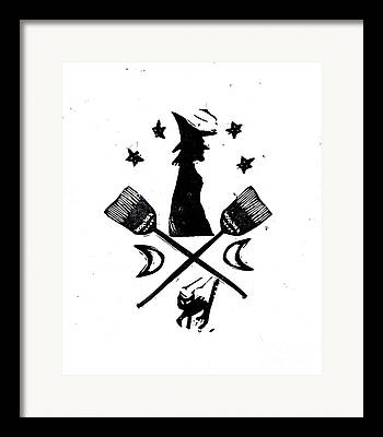 Witch Halloween Cat Wicca Mixed Media Framed Prints