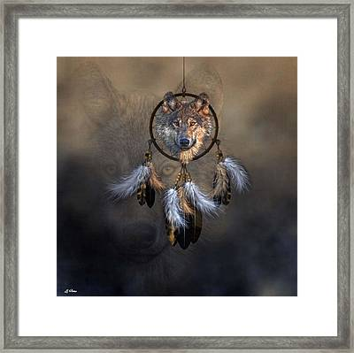 Wolf Spirit Dream Catcher Framed Print by G Berry