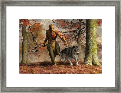 The Wolf Teaching Man To Hunt Framed Print by Daniel Eskridge