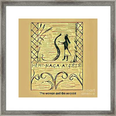 The Woman And The Serpent Framed Print