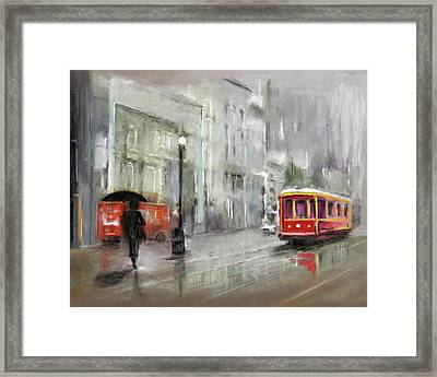 The Woman In The Rain Framed Print