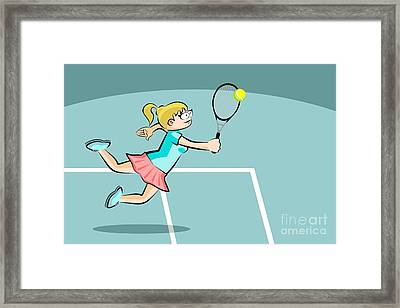 The Woman Jumps To Hit The Tennis Ball With Her Racket Framed Print
