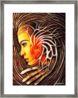 The Woman Thinks With The Heart Framed Print by Paulo Zerbato