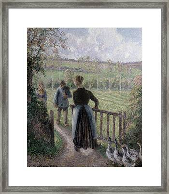 The Woman With The Geese Framed Print by Camille Pissarro