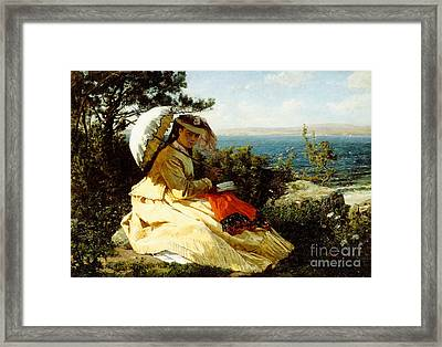 The Woman With The Parasol Framed Print