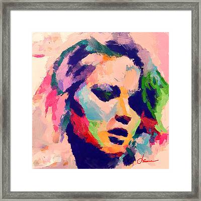 The Women With Pink Hair Framed Print