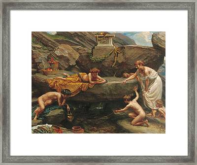 The Wonders Of The Deep    An Idyll  Framed Print by Sir Edward John Poynter