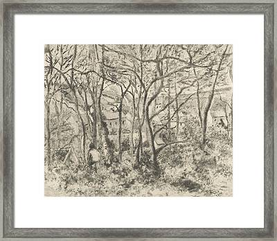 The Woods At L'hermitage, Pontoise Framed Print by Camille Pissarro