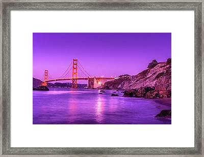 Golden Gate Bridge At Night Framed Print