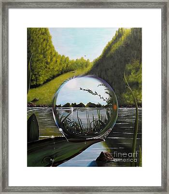 The World In A Droplet Framed Print