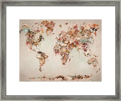 The World Map Framed Print by Bri B