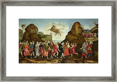The Worship Of The Egyptian Bull God Apis Framed Print by Follower of Filippino Lippi