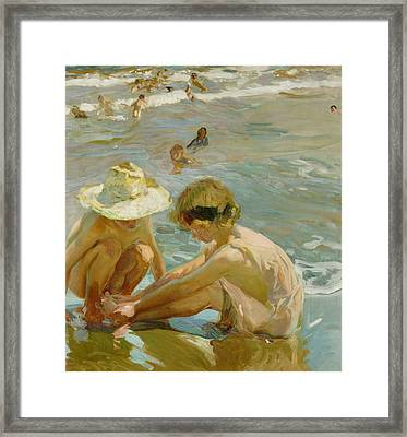 The Wounded Foot Framed Print by Joaquin Sorolla y Bastida