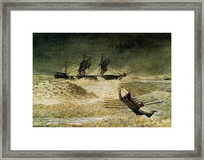 The Wreck Of The Iron Cloud, 1881 Framed Print by Winslow Homer