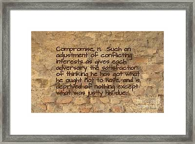The Writing On The Wall One Framed Print by John Malone