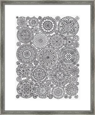 The Yang, Light Mandalas Hand-drawn Framed Print