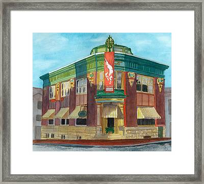 The Yellow Brick Bank Restaurant Framed Print