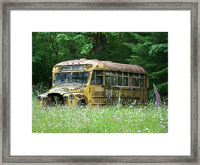 The Yellow Bus Framed Print by Gene Ritchhart