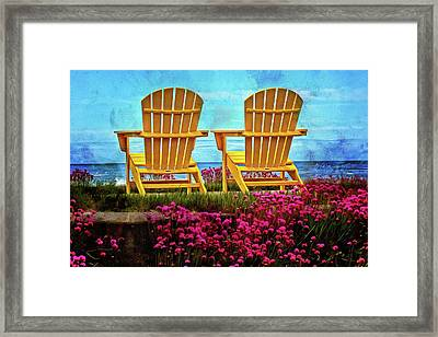 The Yellow Chairs By The Sea Framed Print