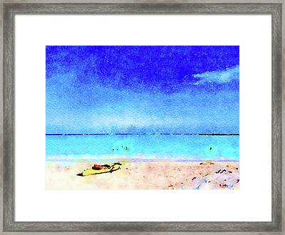Framed Print featuring the painting The Yellow Kayak by Angela Treat Lyon