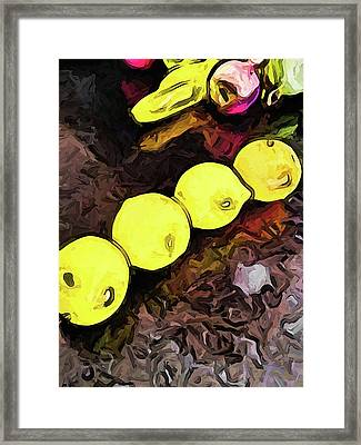The Yellow Lemons In A Row And The Pink Apple Framed Print