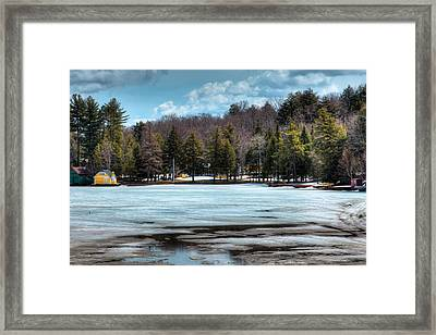 The Yellow Lighthouse On Old Forge Pond Framed Print