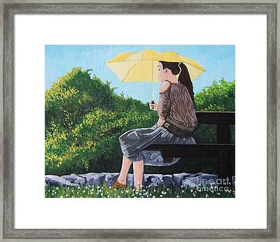 The Yellow Umbrella Framed Print by Reb Frost