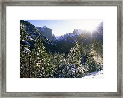 The Yosemite Valley In Winter Framed Print