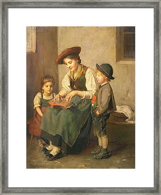 The Zither Player Framed Print by Franz von Defregger