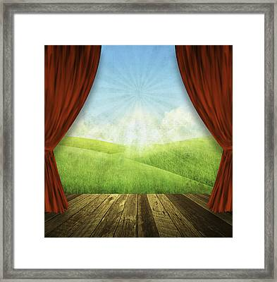 Theater Stage With Red Curtains And Nature Background  Framed Print by Setsiri Silapasuwanchai