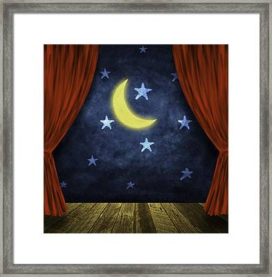 Theater Stage With Red Curtains And Night Background  Framed Print by Setsiri Silapasuwanchai